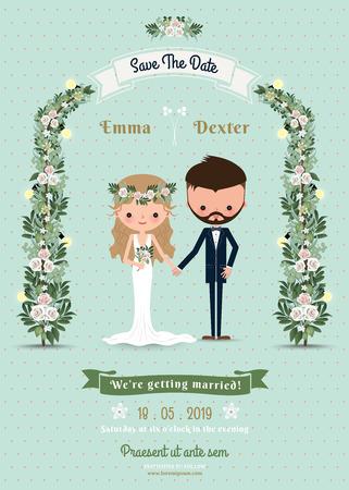Hipster huwelijk uitnodigingskaart bruid en bruidegom cartoon strand thema op polka dot achtergrond