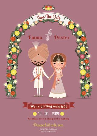 marriage invitation: Indian Wedding Bride & Groom Cartoon Romantic Invitation Card on Dark Pink Background
