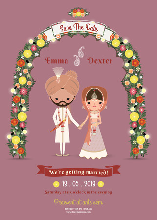 Indian Wedding Bride & Groom Cartoon Romantic Invitation Card on Dark Pink Background