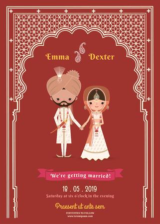 wedding bride: Indian Wedding Bride & Groom Cartoon Save The Date Card on Deep Red Background
