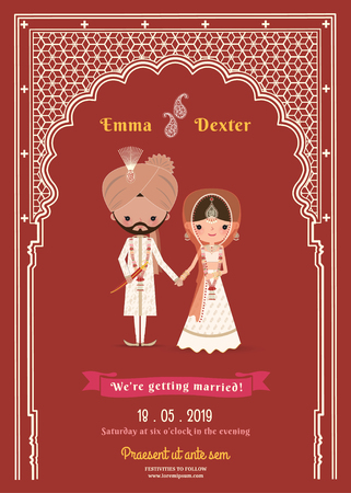 Indian Wedding Bride & Groom Cartoon Save The Date Card on Deep Red Background