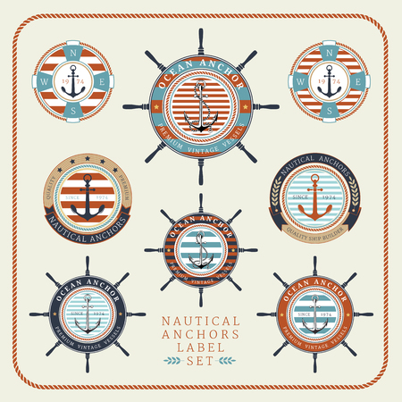 voyager: Nautical anchors label  set in blue, yellow and red colours