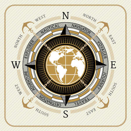Nautical vintage compass 01 on striped background Иллюстрация