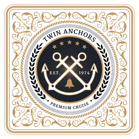 Nautical twin anchors retro card with Square Frame Фото со стока - 59830945