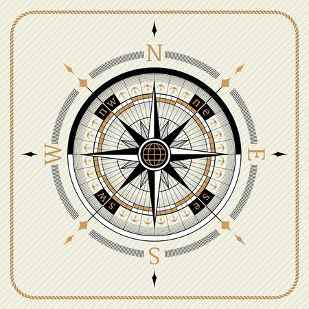 voyager: Nautical vintage compass 02 on striped background Illustration