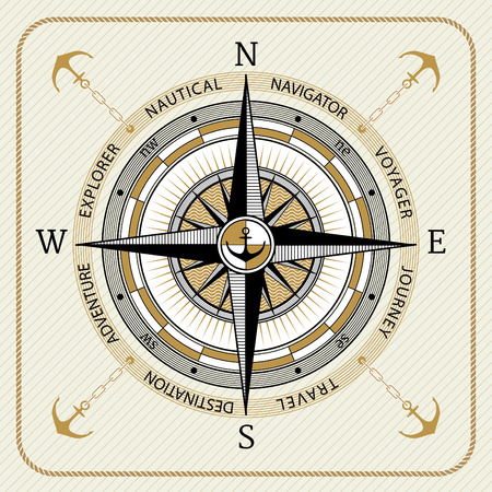 Nautical vintage compass 03 on striped background