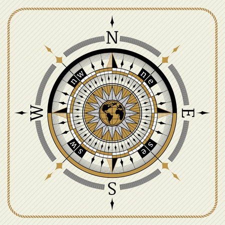 Nautical vintage compass 04 on striped background
