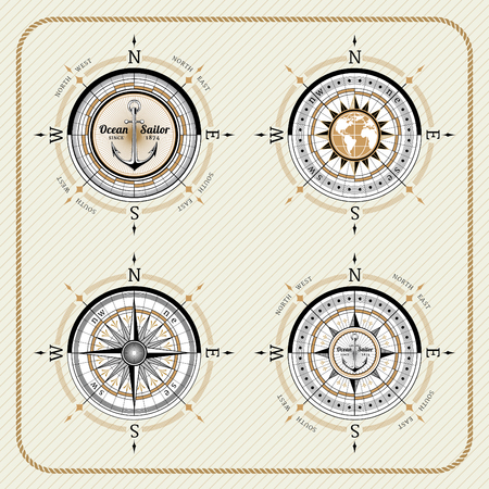 Nautical vintage compass set on striped background