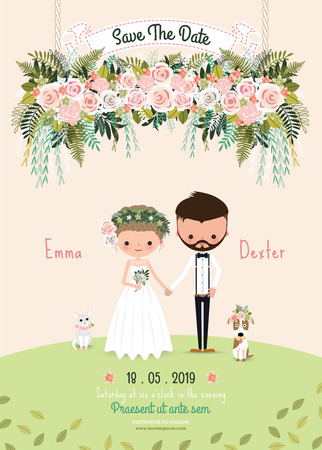 Rustic wedding couple save the date invitation card floral blossom, bride and groom with dog and cat