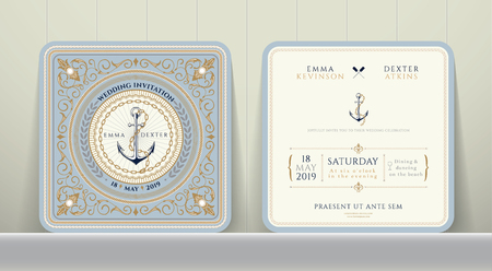 Vintage Nautical Anchors and Chain Wedding Invitation Card in Classic Style on Wood Background