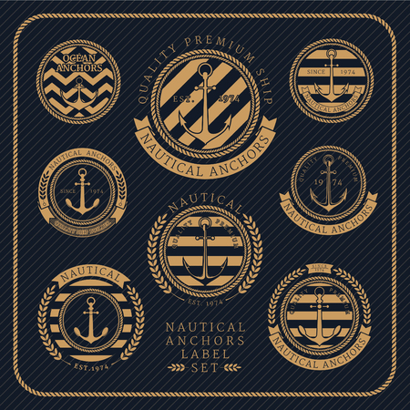 Vintage nautical anchors label set on dark striped background. Icons and design elements.