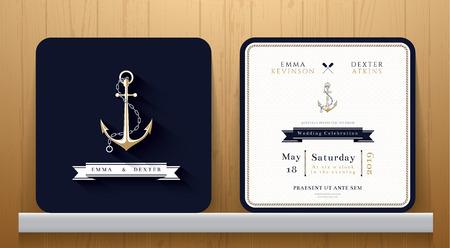 azul marino: Tarjeta de invitación de la boda Anclas náuticas de la vendimia en el tema Azul marino sobre fondo de madera Vectores