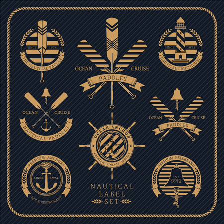 Vintage nautical label set on dark striped background. Icons and design elements.