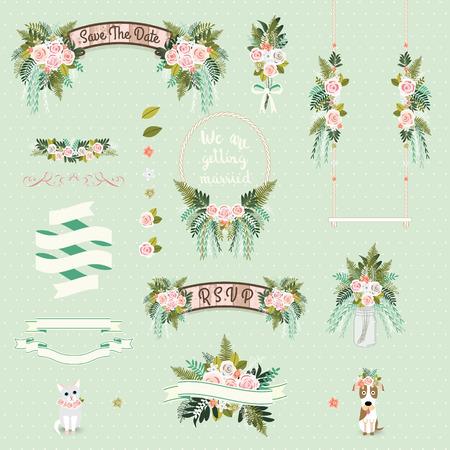 Vintage wedding floral decorative and ornaments set on green background Stock Illustratie