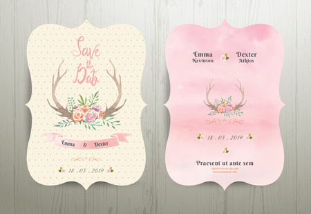Antler flowers rustic wedding save the date invitation card 02 on wood background Stock Illustratie