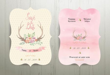 flores cornamenta boda rústica ahorran la tarjeta de invitación de la fecha 02 en el fondo de madera Ilustración de vector