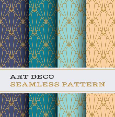 4 つの色の背景を持つアールデコ シームレス パターン