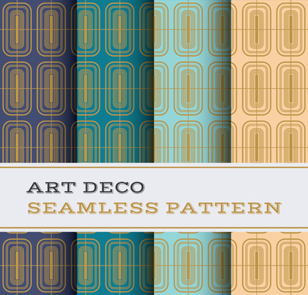 thirties: Art Deco seamless pattern with 4 colours background Illustration
