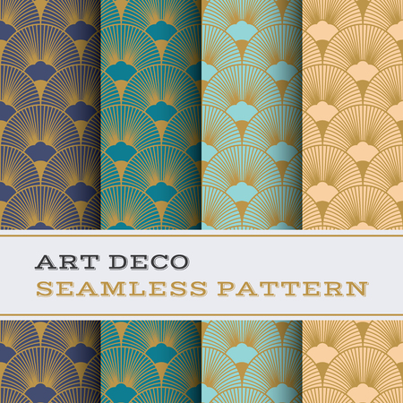 Art Deco seamless pattern with 4 colours background Иллюстрация