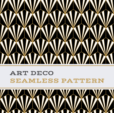 Art Deco seamless pattern with black white and gold colours