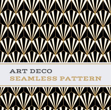 Art Deco naadloze patroon met zwart-wit en gouden kleuren
