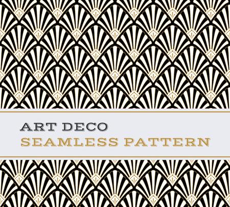 Art Deco nahtlose Muster mit schwarzen weißen und goldenen Farben Vektorgrafik