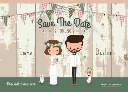 Para kart rustykalne zaproszenia ślubne i zapisać datę z drewna tle