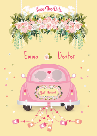 Just married car with save the date wedding invitation card, silhouette bride and groom in the car Vectores