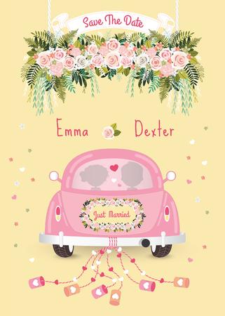 Net getrouwd auto met sparen de datum bruiloft uitnodiging kaart, silhouet bruid en bruidegom in de auto