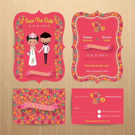 신부와 소박한 꽃 결혼식 초대 카드를 신랑과 날짜를 저장 및 나무 배경에 답장