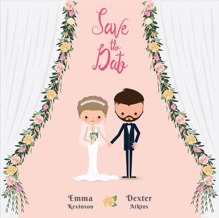 Cartoon wedding couple save the date invitation card, flower curtain
