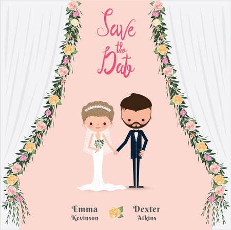 Cartoon wedding couple save the date invitation card, flower curtain