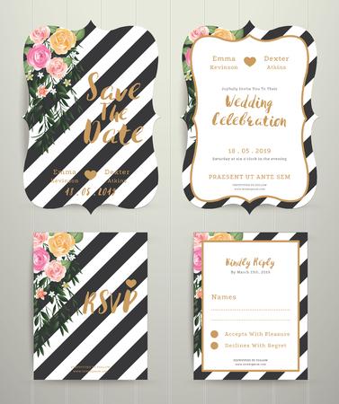 Modern wedding invitation card set on black and white stripe background on wood background