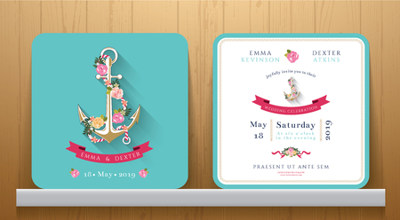 Nautical wedding invitation card with floral and anchor on Wood Background  イラスト・ベクター素材