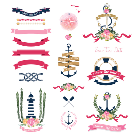 Nautical Wedding Theme With Floral And Anchor Ornaments On White Background
