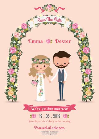 Rustic blossom flowers cartoon couple wedding invitation card on pink background