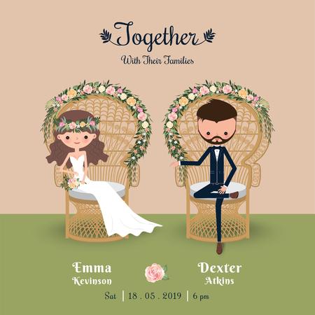 Rustic bohemian cartoon couple wedding invitation card, sitting in chair