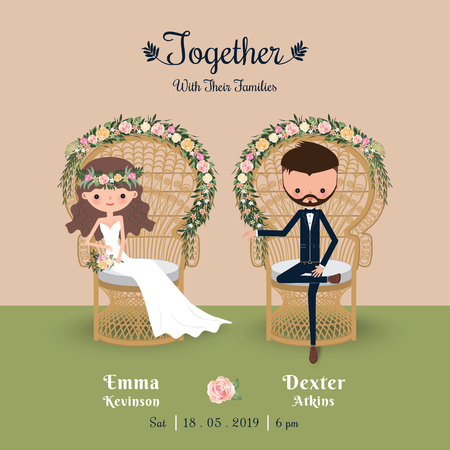 Rustieke bohemien cartoon paar bruiloft uitnodiging kaart, zittend in de stoel