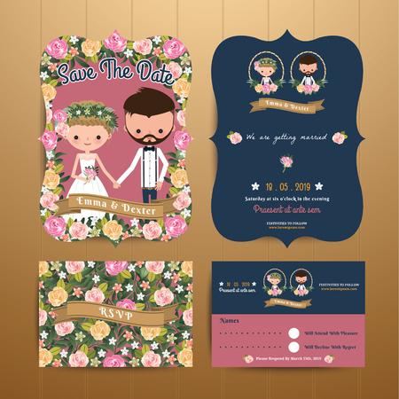 Vintage rustic blossom flowers cartoon couple wedding invitation card & RSVP set on wood background Illustration