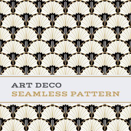 Dekoration: Art Deco nahtlose Muster mit schwarzen weißen und goldenen Farben