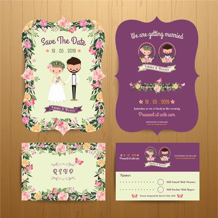 cartoon: Rustic blossom flowers cartoon couple wedding invitation card & RSVP set on wood background Illustration