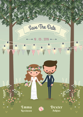 Rustic bohemian cartoon couple wedding invitation card in the forrest, Chic and romantic card Çizim