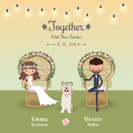 Rustieke bohemien cartoon paar bruiloft uitnodiging kaart met de hond, Peacock stoel