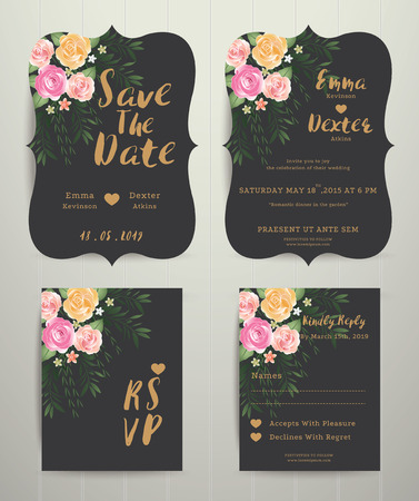 Floral wedding invitation save the date card with rsvp set, vintage style