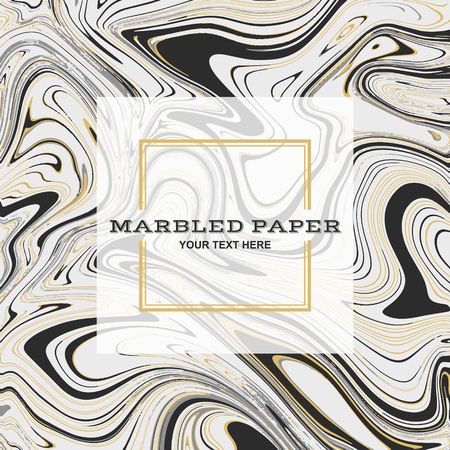 Marbled Paper Background in Black Gold Colours