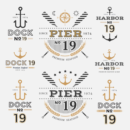 Nautical Label Anchor No 19 set in Gold and Black Colour, Premium Seafood Labe Фото со стока - 99347086