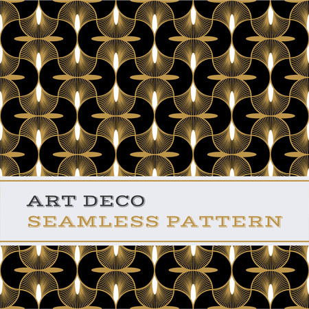 Art Deco seamless pattern with black white and gold colours Foto de archivo - 99340752