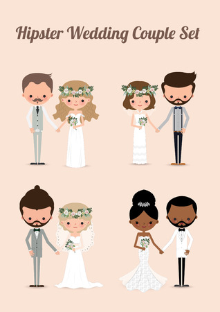 Hipster wedding couple set, cartoon Illustration of bride Çizim