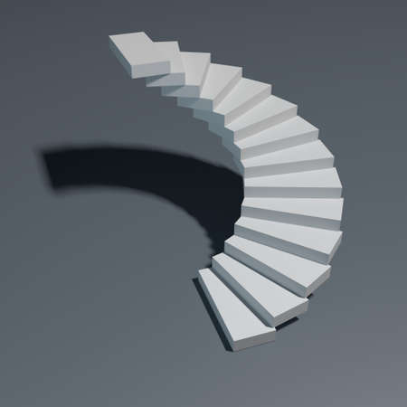 spiral stairs: Spiral staircase isolated on gray background. 3D rendering illustration. Stock Photo