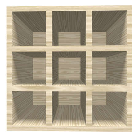 bookcase: Empty wooden bookcase isolated on white background. 3D rendering illustration.